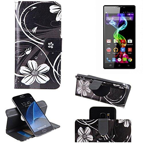 K-S-Trade® Schutzhülle Für Archos 55 Platinum Hülle 360° Wallet Case Schutz Hülle ''Flowers'' Smartphone Flip Cover Flipstyle Tasche Handyhülle Schwarz-weiß 1x
