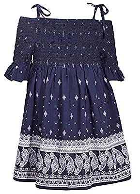 Bonnie Jean Blue Halter Style Paisley Print Dress with Tie Shoulder Straps, 3T