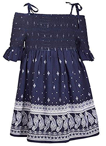 Vestido com estampa Paisley azul frente única com alças nos ombros Bonnie Jean, Azul, 16