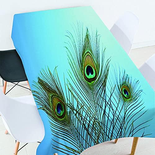Mantel Antimanchas Rectangular Mantel Lavable para Diseño De Comedor Jardin Cocina Decoración De Mesa - 140X180Cm Azul, Plumas De Pavo Real