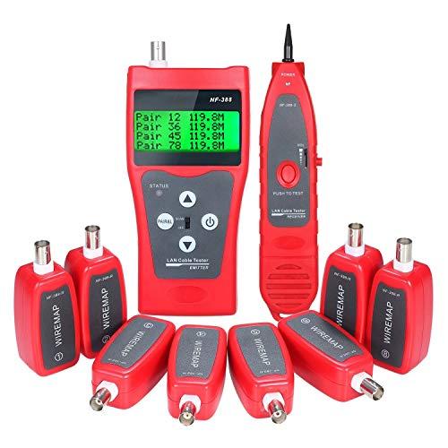 /G Probador de Cable de Red LCD Multifuncional Rastreador de Cables Buscador de Longitud de Cable RJ11 RJ45 BNC Buscador de línea Probador de Cable LAN con 8 adaptadores remotos - Rojo