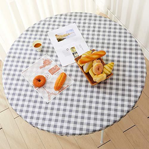 Outdoor Tablecloth Round 45 to 56', Fitted Vinyl Tablecloth with Elastic, Gray Gingham Plaid Check, Flannel Table Cover, Flannel Backed with Elastic Edge, Waterproof & Easy Cleanup