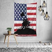 Bless America Silhouettes of American USA Flag Background Valor Patriot Theme Picture タペストリー おしゃれ 60X40インチ(152x102cm)タペストリー壁掛け手工芸品寝室/リビングルーム/寮/カーテンのための芸術装飾家の装飾