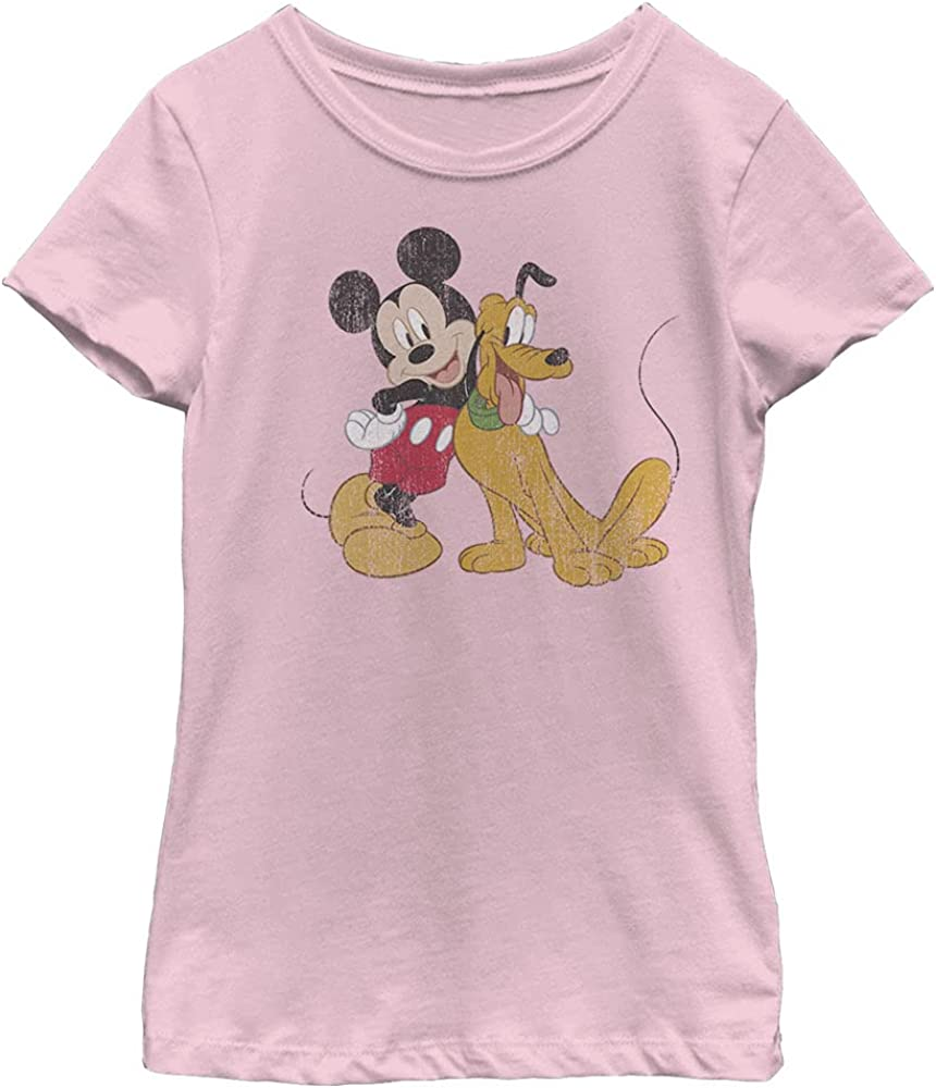 Disney Characters Mickey and Pluto Girl's Solid Crew Tee