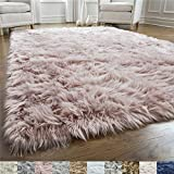 Gorilla Grip Original Premium Faux Fur Area Rug, 4 FT x 6 FT, Softest, Luxurious Carpet Rugs for Bedroom, Living Room, Luxury Bed Side Plush Carpets, Rectangle, Dusty Rose