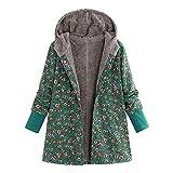 UJUNAOR Damen Mantel mit Kapuze Nationaler Winddruck Jacke aus Baumwolle Leinen(Grün,CN L)