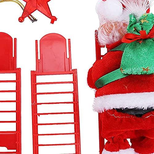 YuKeShop Juguetes creativos de Navidad, fibra óptica roja escalada escalera Santa Claus juguetes, escalera eléctrica Santa Claus escalada juguete de Navidad para decoración del hogar regalo de niños
