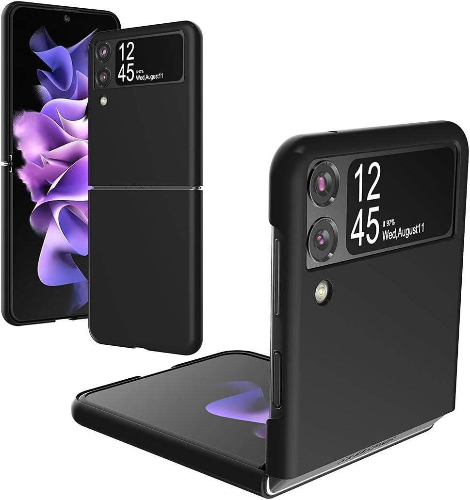 Foluu Galaxy Z Flip 3 Case, for Samsung Galaxy Z Flip 3 Slim Phone Case, Premium Thin Full Protection Hard PC with Non-Slip Grip Protective Cover for Samsung Galaxy Z Flip 3 5G 2021 (Black)