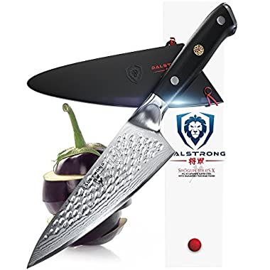 DALSTRONG Small Chef's Knife - Shogun Series X Gyuto - AUS-10V (Vacuum Treated) - Hammered Finish - 6  - w/Guard Sheath