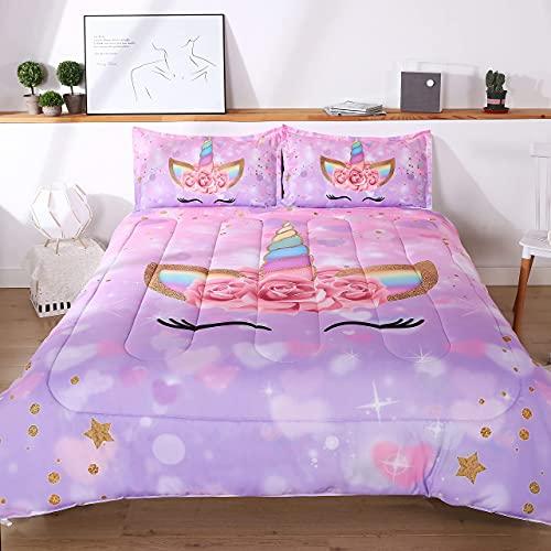 Oecpkd Unicorn Comforter Set 3pc Pink Flower Girl Soft Unicorn Kid's Bedding Sets