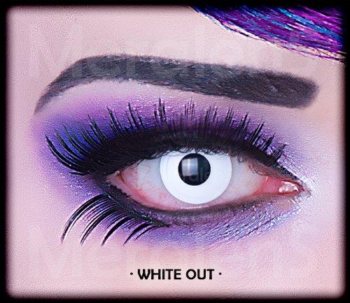 Farbige weiße weisse Crazy Fun Kontaktlinsen mit Stärke -5,00 White Out Zombie mit gratis Linsenbehälter Topqualität zu Karneval, Fasching und Halloween
