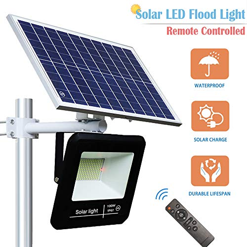 YQL 100W Outdoor LED Solar Street Security Flood Light IP67 Waterproof White 6500K 208 LEDs Auto On/Off Dusk to Dawn Timer with Remote and Bracket for Exterior Roads Yard Garden Pathway Landscape