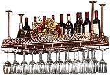 Equipo de vino de bar / botellero Techo de América del vino del metal Bastidores de almacenamiento de soporte for copas de vino del cubilete de cristal Estante de bronce que cuelga del vino Decoración