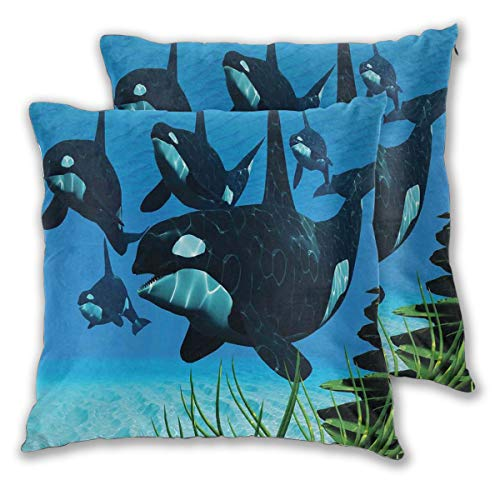 LISNIANY Cushion Cover,Pod of Killer Whales Swim Along A Reef Looking for Fish Prey Ocean,Pillow Case Cover Square Cushion Cover for Sofa Car Home Bed Decor 45 x 45cm