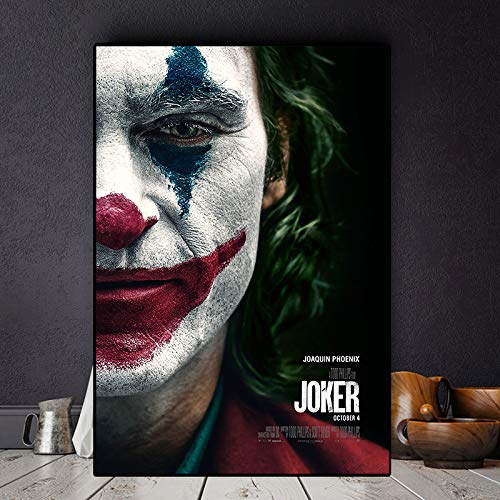 BailongXiao Wohnzimmer Dekoration von Clown Film Ölgemälde Poster Wandkunst Bild auf Leinwand,Rahmenlose MalereiCJX1102-60X90cm