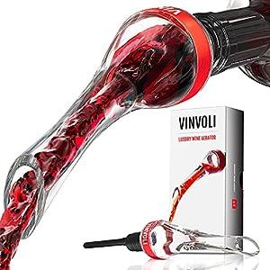 VINVOLI Wine Aerator - New 2020 Luxury Wine Air Aerator - Wine Pourer Wine Pour Spout - Wine Aerators Pourer - Red Wine Decanter with Aerator - Aerator Wine Pourers Pour Spouts - Wine Aerator Pourer