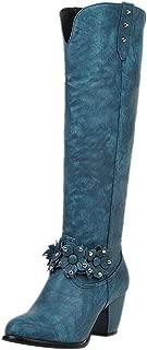 ELEEMEE Women Western Boots Pull On Knee High Boots