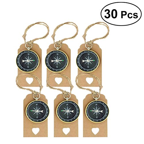 TOYMYTOY 30 Sets Travel Themed Souvenirs Compass and Tags Labels Party Favors for Wedding Birthday Anniversary