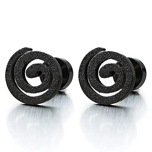Negro Geométrico Espiral Pendientes de Hombres Mujer, Pendientes Lobo, Acero Inoxidable, 2 Piezas