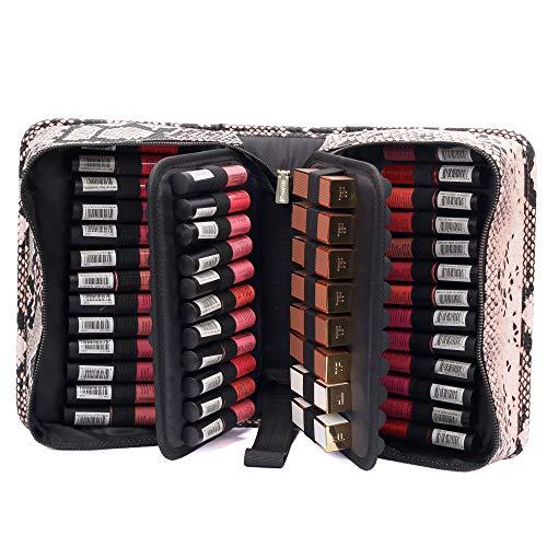 ROWNYEON Lipstick Organizer Bag Case Lipstick Holder 67 Slots Snake Print Portable Travel Makeup Bag Cosmetic Case Lipstick Carrying Case Makeup Storage Bag Case For Lip Gloss,Mascara-Pink PU Leather