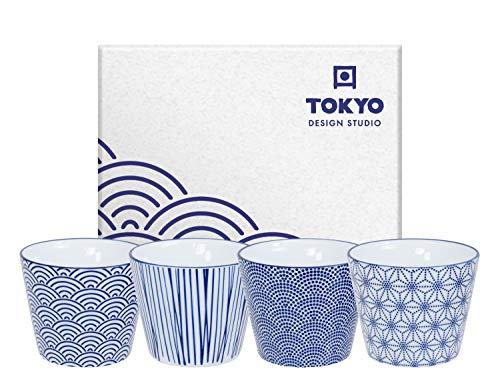 TOKYO design studio Nippon Blue Tee-Becher-Set blau-weiß, 4-TLG, 4X Tee-Tassen 180 ml, asiatisches Porzellan, Japanisches Design, inkl. Geschenk-Verpackung