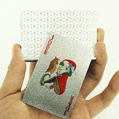 Tinksky plaqué Aluminium Poker cartes à jouer en plastique imperméable 54 cartes Argent argent