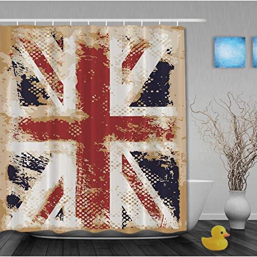 ZLWSSA 3D Wasserdicht Duschvorhang Hauptdekorationen Union Jack Flagge Polyester Bad Vorhang 180x240cm