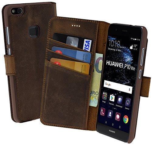Suncase Book-Style (Slim-Fit) für Huawei P10 Lite Ledertasche Leder Tasche Handytasche Schutzhülle Hülle Hülle (mit Standfunktion & Kartenfach) antik coffee