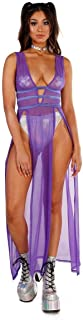 iHeartRaves Women`s Sheer Mesh Cutout Rave Festival Dresses