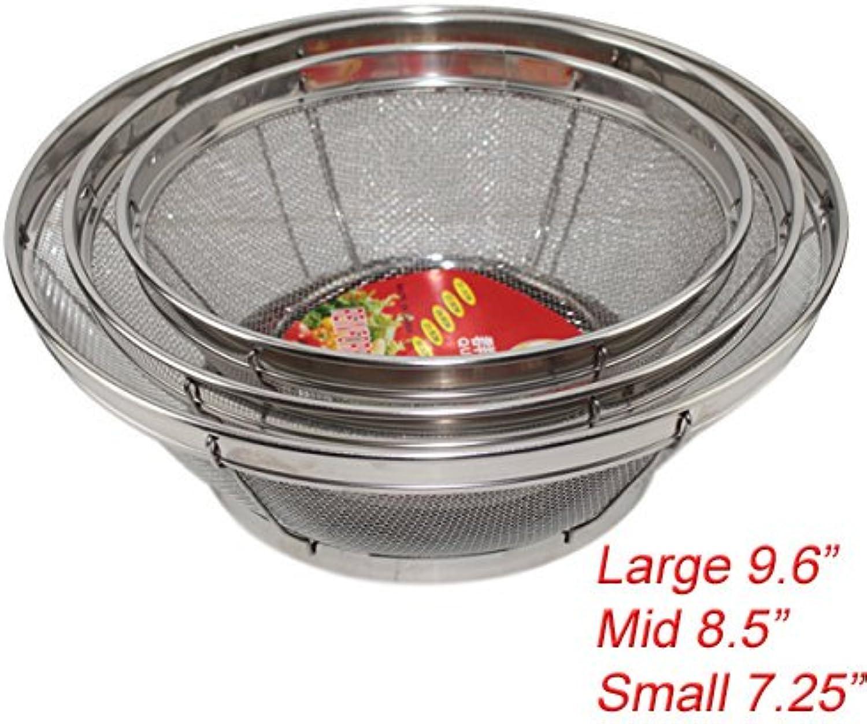 Set mit 3 Waschsieb, verstärkter Korb, Edelstahl, Küchensieb Küchensieb Küchensieb mit feiner Netzqualität (Sieb, Abtropfen, Waschen von Gemüse, Nudeln) (B11861) B073G9DBCN 6cb54a