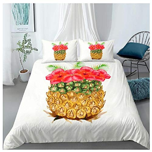 BAIYANG 3D Cartoon Pineapple Flower Printing Bedding Set Quilt Cover Comforter Bedding Sets Set Queen King Sizes King(230x220cm)