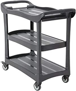 Kitchen Storage Trolley, 3-Tier Plastic Mobile Rolling Cart with Castors, Easy Assembly, for Bathroom Utility and Organisa...