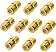 Wideskall 10 Pieces Gold Plated Female to Female F-Type Coaxial Barrel Coupler