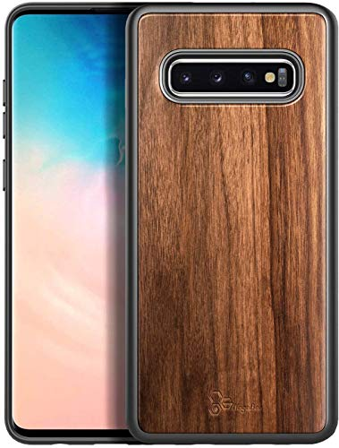 E-Began Case for Samsung Galaxy S10, (6.1 inch 2019 Release), [Real Natural Walnut Wood], Ultra Slim Protective Bumper Shockproof Phone Case (Every Piece is Unique) -Wood