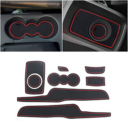 Color : Black+Red SYJY-SHOP Car Door Slot Pad Rubber Mats Only For Peugeot 2008//2014-2018 Latex Gate Slot Pad Interior Door Groove Mat Non-slip Dust Mat Interior Accessories