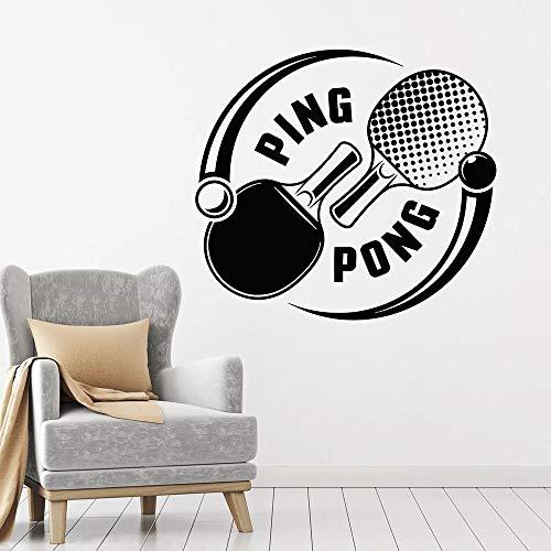 Tianpengyuanshuai Tennis de Table Sticker Mural Raquette de Sport Tennis de Table Olympique Portes et fenêtres Autocollants Adolescent Chambre décoration de la Maison Murale 85x94 cm