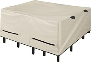Porch Shield Patio Table Cover - Waterproof Outdoor Dining Table and Chairs Furniture Set Cover Square - 102 x 102 inch, Beige