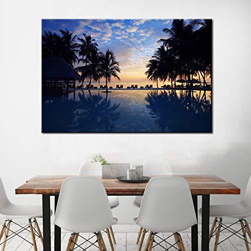 sanzangtang Rahmenlose Malerei Kokosnussbaum mit Feiertags-Seestückkunst-Leinwandmalerei, Blaue Seelandschaftskunstillustration 40X60cm