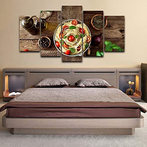 DGGDVP Modular Home Decor Leinwand Bilder 5 Stück italienische Küche Pasta Olivenöl Knoblauch Gemälde Küche Hd druckt Poster Wandkunst Größe 2 mit Rahmen