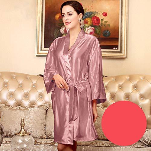 YRTHOR Albornoz Kimono de satén de Seda para Mujer, Bata de baño sólida de Dama de Honor hasta la Rodilla, Bata de Novia de Talla Grande para Ropa de Dormir de Boda,Pinkish,L