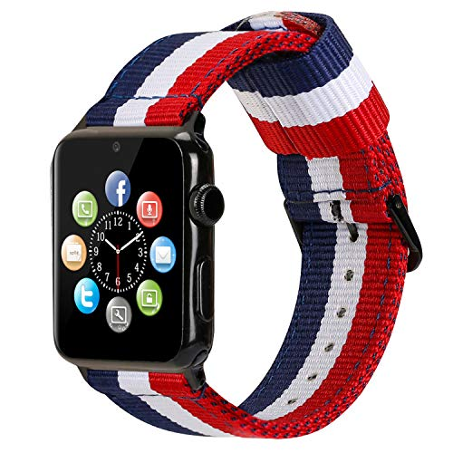 ESTUYOYA - Pulsera de Nailon Compatible con Apple Watch Colores Bandera de Francia Ajustable Estilo Deportiva, Casual Elegante para 38mm 40mm Series 6/5 / 4/3 / 2/1 / SE/Nike+