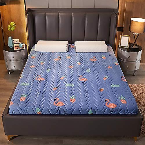 MKMKT Colchón, colchón de látex natural de tamaño completo, tatami grueso, plegable, diseño ergonómico, patrón de flamenco, sin almohada, grosor de 3.5 pulgadas, 53 x 79 pulgadas
