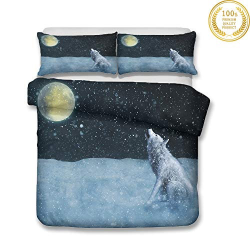 Chickwin Duvet Cover Set 3D Wolf Moon Pattern for Twin Full Queen King Size Bed, Microfiber Bedding Sets Duvet Set with Pillowcases and Quilt case (172x218cm (2pcs),Snow Wolf)