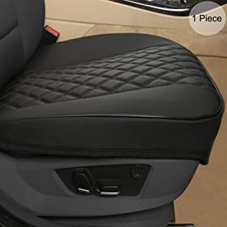 """Black Panther PU Car Seat Cover, Front Seat Protector Compatible with 90% Vehicles,Diamond Pattern Embroidery,Anti-Slip & Full Wrapping Edge (W 21.26''×D 20.86"""")(1Piece,Black)"""