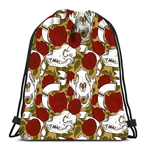Ahdyr Mochila con cordón Bolsas Deportes Cinch Cráneos de Animales y Rosas Rojas Mochila de Cuerda Bolsas de Almacenamiento a Granel para Gimnasio Escolar
