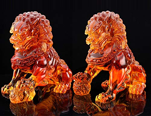 QMZDXH Un Par de Leones Guardianes de Piedra Feng Shui, Estatua de Perro Beijing Foo, Perros Fu, Dos Leones Guardianes Feng Shui Liuli Decoración del Hogar