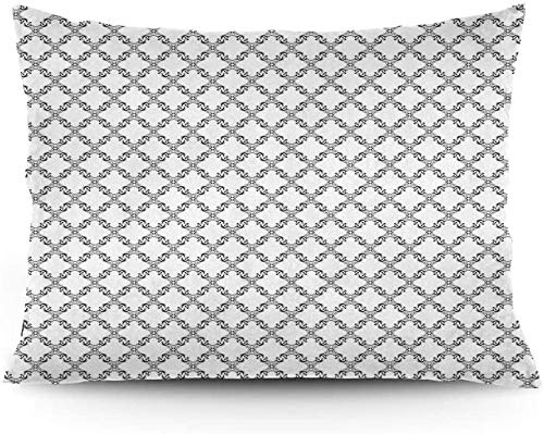 Keyboard cover Cushion Cover, Old Fashioned Art Abstract Ornaments Cross Shape Lines Retro Artistic Curlicues Printed Cushion Cover 16'x24'