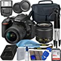 Nikon D5600 DSLR Camera with 18-55mm VR Lens + 64GB SDXC Memory Card, Tripod, Flash, and More by Blue Pixel