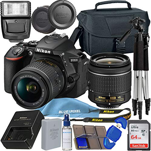 Nikon D5600 DSLR Camera with 18-55mm VR Lens + 64GB SDXC Memory Card, Tripod, Flash, and More