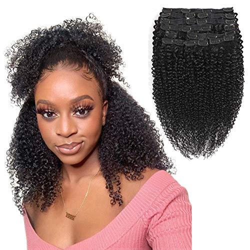 Morichy Kinky Curly Clip dans les extensions de cheveux humains 16 pouces Afro Kinky Curly Hair Clip Ins Cheveux Remy Brésiliens pour les Femmes Noires 10 Pièces